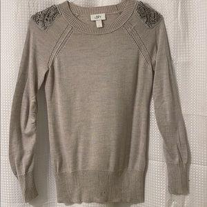Loft Sweater Rhinestone Beaded Epaulet Shoulders